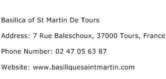 Basilica of St Martin De Tours Address Contact Number