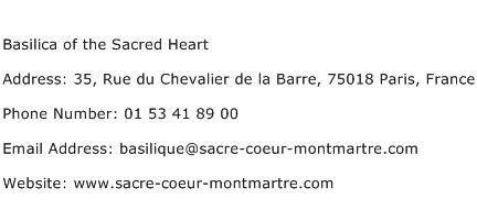 Basilica of the Sacred Heart Address Contact Number