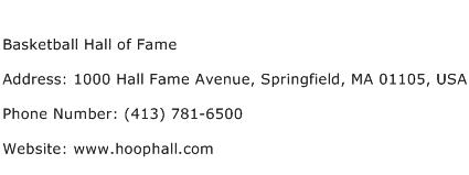 Basketball Hall of Fame Address Contact Number