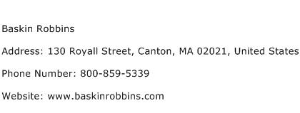 Baskin Robbins Address Contact Number
