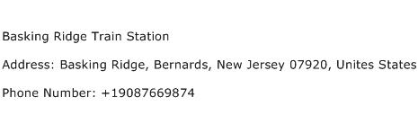 Basking Ridge Train Station Address Contact Number