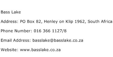 Bass Lake Address Contact Number