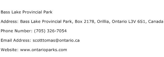 Bass Lake Provincial Park Address Contact Number
