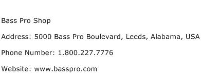 Bass Pro Shop Address Contact Number