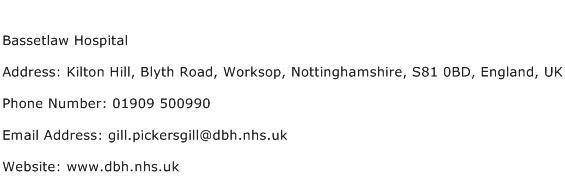 Bassetlaw Hospital Address Contact Number