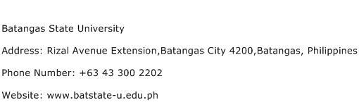 Batangas State University Address Contact Number