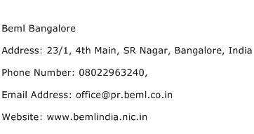 Beml Bangalore Address Contact Number