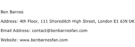 Ben Barnes Address Contact Number