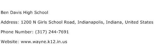 Ben Davis High School Address Contact Number