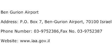 Ben Gurion Airport Address Contact Number