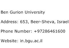 Ben Gurion University Address Contact Number