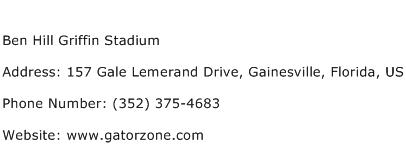 Ben Hill Griffin Stadium Address Contact Number