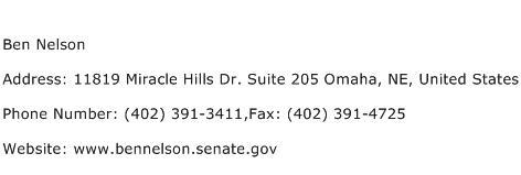 Ben Nelson Address Contact Number