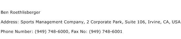 Ben Roethlisberger Address Contact Number
