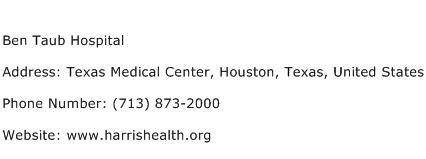 Ben Taub Hospital Address Contact Number