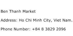 Ben Thanh Market Address Contact Number