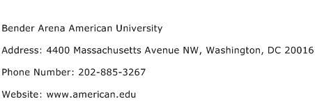 Bender Arena American University Address Contact Number