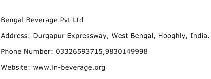 Bengal Beverage Pvt Ltd Address Contact Number
