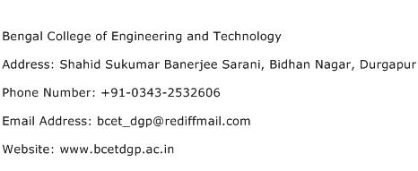 Bengal College of Engineering and Technology Address Contact Number