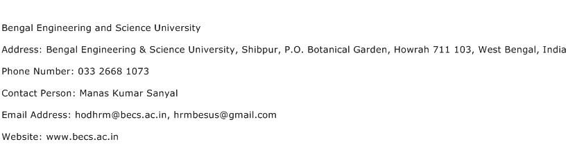 Bengal Engineering and Science University Address Contact Number