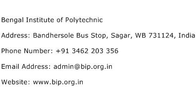 Bengal Institute of Polytechnic Address Contact Number
