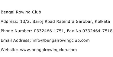 Bengal Rowing Club Address Contact Number