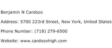 Benjamin N Cardozo Address Contact Number