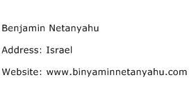 Benjamin Netanyahu Address Contact Number