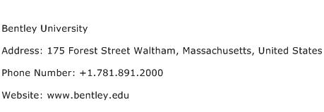 Bentley University Address Contact Number