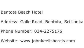 Bentota Beach Hotel Address Contact Number