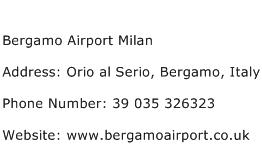 Bergamo Airport Milan Address Contact Number