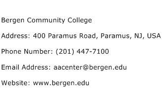 Bergen Community College Address Contact Number