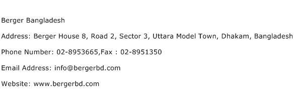 Berger Bangladesh Address Contact Number