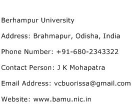 Berhampur University Address Contact Number