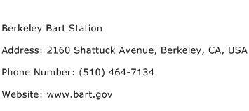 Berkeley Bart Station Address Contact Number