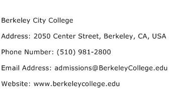 Berkeley City College Address Contact Number