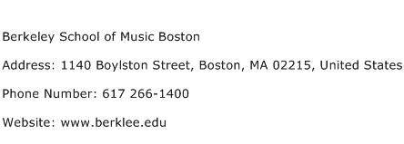 Berkeley School of Music Boston Address Contact Number