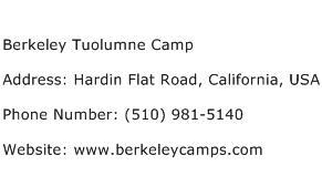 Berkeley Tuolumne Camp Address Contact Number