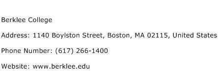 Berklee College Address Contact Number
