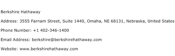 Berkshire Hathaway Address Contact Number