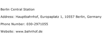 Berlin Central Station Address Contact Number