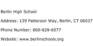 Berlin High School Address Contact Number