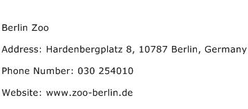 Berlin Zoo Address Contact Number