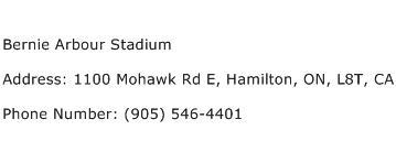 Bernie Arbour Stadium Address Contact Number