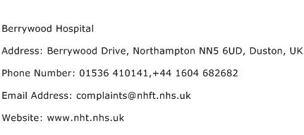 Berrywood Hospital Address Contact Number