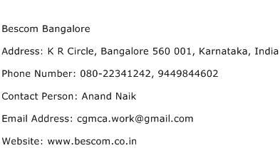Bescom Bangalore Address Contact Number