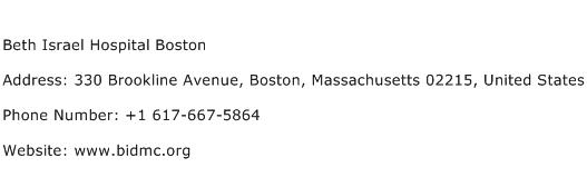 Beth Israel Hospital Boston Address Contact Number