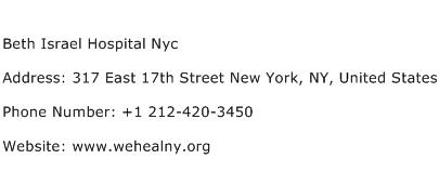 Beth Israel Hospital Nyc Address Contact Number