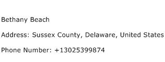 Bethany Beach Address Contact Number