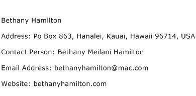 Bethany Hamilton Address Contact Number